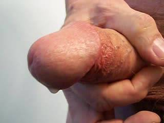 Nice big cum from a soft fat cock.