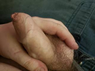 My small uncut cock wanna play with it