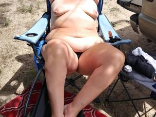 We love to be naked outdoors. She is so hot in the warm sun naked dont you think?