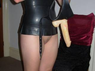 Getting the strapon ready. Would you like to sample it? xxx