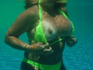 Looks great.  Either the waters a little cool, you've been tweaking those nips, or your horny as hell, which is it?
