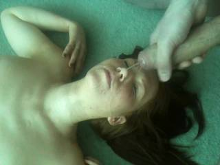 Hull Slag, Lauren Star taking a huge facial at the end of being gang banged