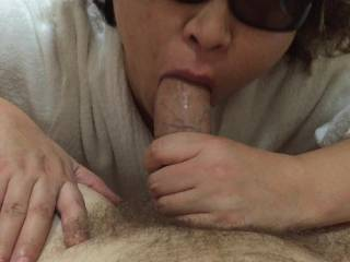 here I am giving a blowjob! could I suck on your big cock?