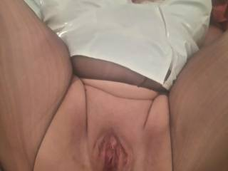 Well it wasn't long until miss naughty nurse was flashing her wet pussy for me to see. What do you think?