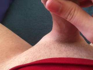 Put a clothes peg on my foreskin to hold all the precum in. 30 minutes later, and it's practically dripping down the side of my cock.