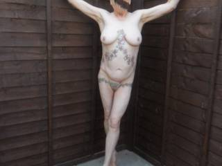just getting some cool air in the garden,  the old chap next door did get a view of me in one of my tiny mini skirts comments please mature couple