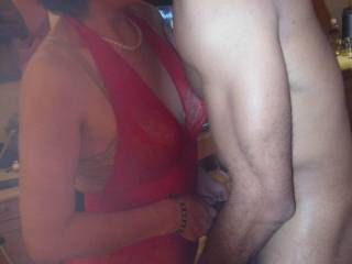 Slowing the caressing became more passionate, my wife began rubbing the massive cock of BBC while BBC fingering fucked her .LOL !