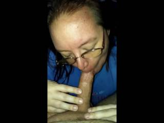 She was in the mood to suck my cock.  It was unfortunate that the first spurt of my cum into her mouth splashed against the back of her throat too hard.  Bless her for holding it together though.