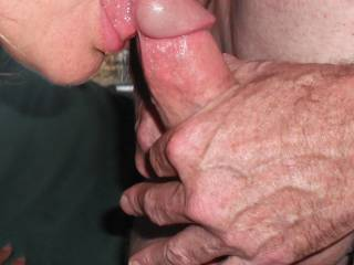 Tasting the first spurts of cum in my mouth from our friend\'s lovely cock, at the swinger party on New Years Eve