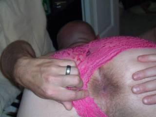 spreading cheeks while wearing wifes pink panties