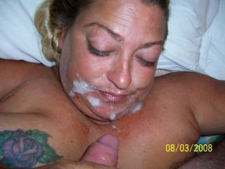 I hope that someone helped her get all of that into her mouth. It would be a shame to waste any of that juicy cum.