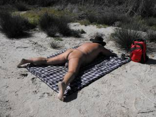 enjoying the sunshine at Pelican Point nudist beach this morning