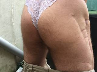 outside in my wifes lacy white panties. so tight on me xx