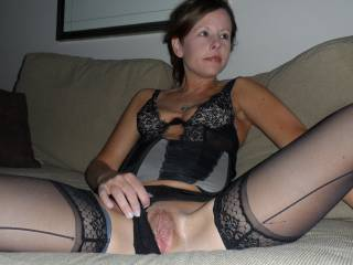 shes a lovely lady, love to feel those legs around my back as my cock slides inside her.....after I have licked that pussy creamy of course