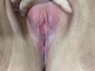 Kittenplaying with her pussy spread wide open teasing me while I was at work