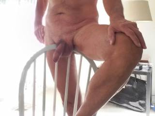Nice chair in my hotel room. Any excuse will do to show off my cock to the camera so others can see it and, I hope, enjoy it too and maybe comment.