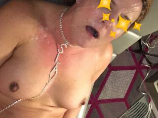 Wife took a nice facial after having her holes used! -Mr