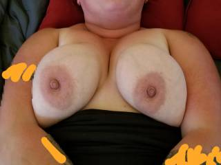 Just waiting for her nipples to be sucked. Love those titties.