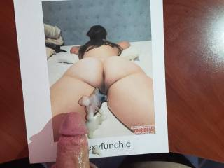 So much cum covering Sexyfunchic\'s ass!  She\'s one hot woman!!