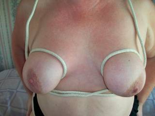 """Absolutely, I'll give you private tuition, if I'm allowed to demonstrate on her! She has the perfect tits for tying up, large, heavy, and just the right amount of """"give"""", it would be a pleasure!"""