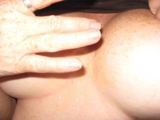 My other lover wanted a quickie so I called hubby and let him hear me sucking my lover\'s cock until he shot this load on my nipples.  His cum always tastes so much better than my sissy bitch hubbies faggot cum.  I make him eat up all his sissy spe.  MMmmm