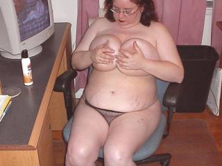My wife squeezing her tits years ago