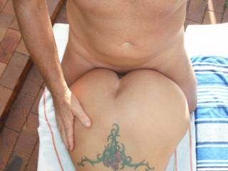 A nice fucking session beside our swimming pool at home.  Isn\'t that an amazing shape ass?