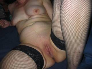 Gf and fishnets showing her hott pussy