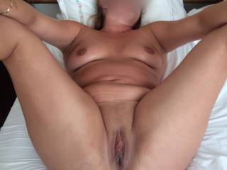 On holiday spreading herself wide and taking all the cock she can...