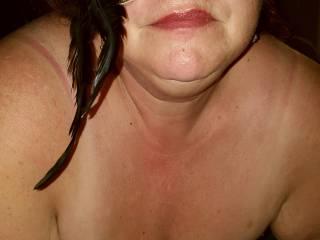 Wifes nice big hanging tits.