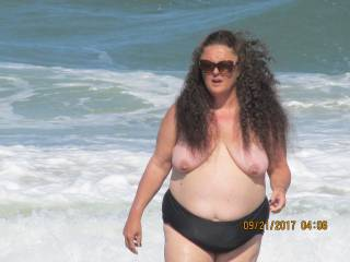 Look at this sexy sea goddess at the topless beach