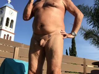 Nice having the sun nice and warm on my cock