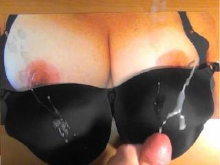 Jacking my cock and cumming on Sweet T\'s sweet tits and black bra! She wanted me to bukkake her tits and bra, this is cum #2