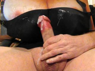 Just shot my 8th black bra bukkake cumload on Sweet T\'s tasty tits and GF\'s black bra request. Her reward for the cock tribute pics she sent me. Cum stains all over her bra!