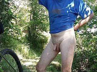 Love cycling showing off my cock , felt great in the warm weather.