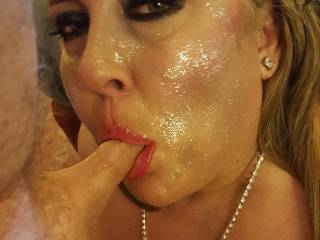 This beautiful Cockwhore smiles for my cameras with my cock in her mouth.
