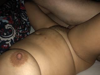 He cums deep inside her hairy milf pussy