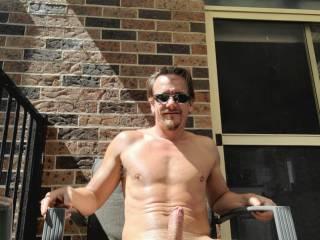 Enjoying the sun in on my deck (dick)