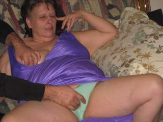 Right on love the silky mauve nightgown and green panties but most of all love that your going to get off