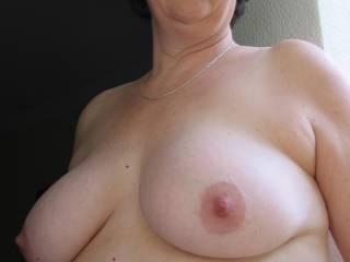 Very Pretty boobs. Your nipples look so suckable :)