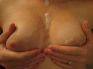 Huge load shot on my wife\'s tits