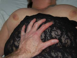 I had a great view of her big tits bouncing as I held her legs up and slammed her tight, married cunt.