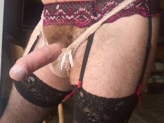 Pink lacy panties and a 6 strap suspender belt holding up some of my wifes stockings.... bliss