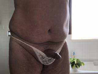 My new panties feel great against my shaved cock and balls. I would love for a women to make me wear panties and then show her friends how she controls my cock. Any Zoig women need a panty boy?