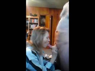 Mrs. Gsplash  sucking cock deep, cumming in her mouth and her swallowing my cum