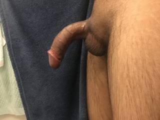 My curved dick fresh out of the shower