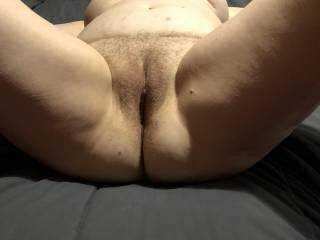 Laying spread eagle on the floor. Ready for me to pound that hot juicy mature pussy.