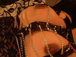 get my sweet whore to tongue those chanis, while I clamp her nipples and swollen lips!!