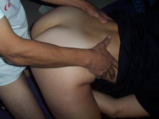 the wife sliding her wet juice shared pussy on her fuck hubbys cock at the start of their all night session...