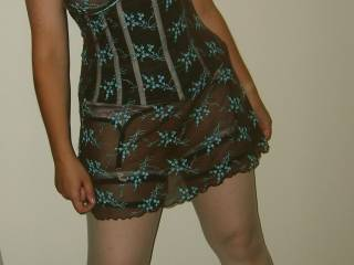 Very hot lingerie, stockings, and heels.  You should wear it out sometime.  We'd love to cum by and see you in something like that...